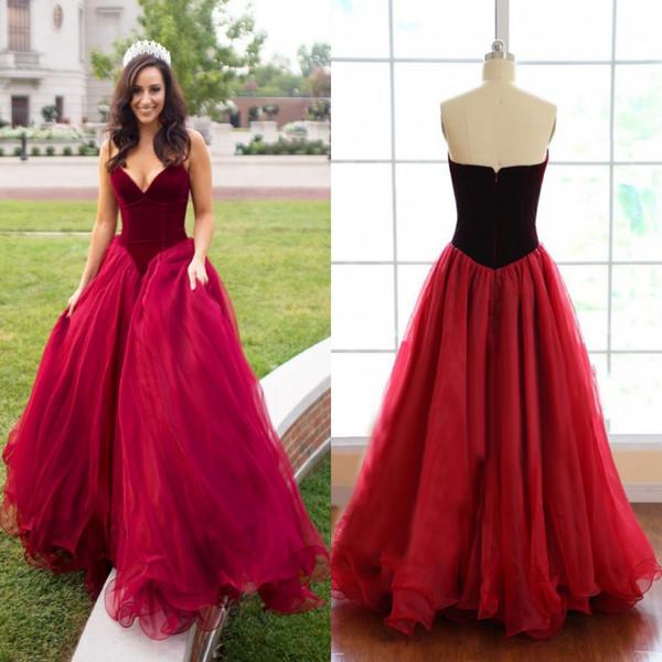 Moda borgoña terciopelo tul vestidos de baile novia 2018 una línea de vestidos de noche palabra de longitud dulce 15 vestido de fiesta BA8540