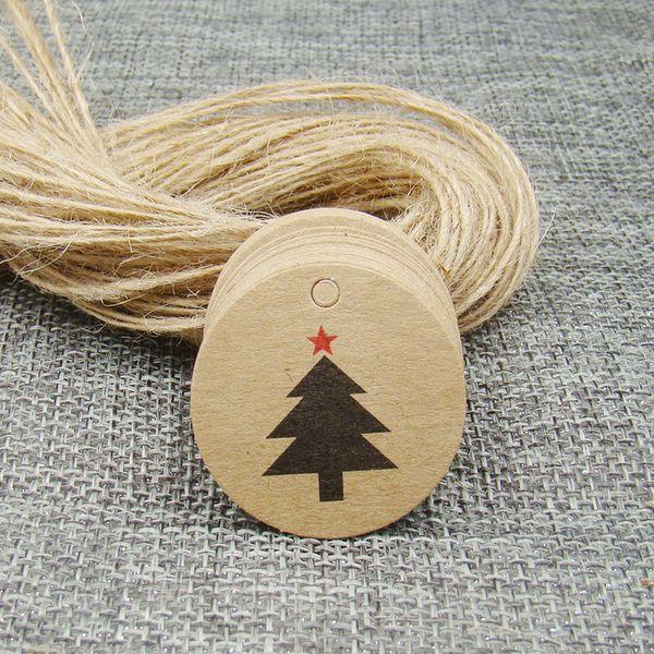 3 * 3 centímetros forma redonda tag kraft presente do Natal árvore 500pcs +500 string para favores Natal / embalagem de apresentação brinquedo do bebê