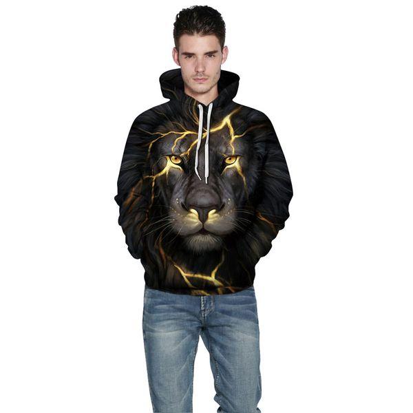 2019 New Fashion Men /Women 3d Sweatshirts Print Golden Lightning Lion Hooded Hoodies Thin Hoody Tracksuits Tops High Quality