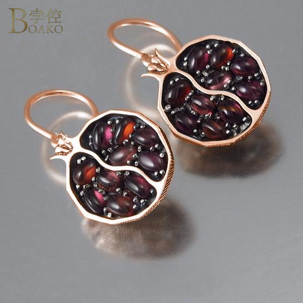 Red Garnet Earrings Pomegranate Shape Hanging Dangle Earrings Drop Earing for Women Wedding Jewelry Ethnic Korean Pendientes