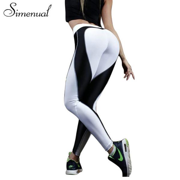 Simenual Heart pattern mesh splice legging harajuku athleisure fitness clothing sportswear elastic push up leggings women pants Y190603