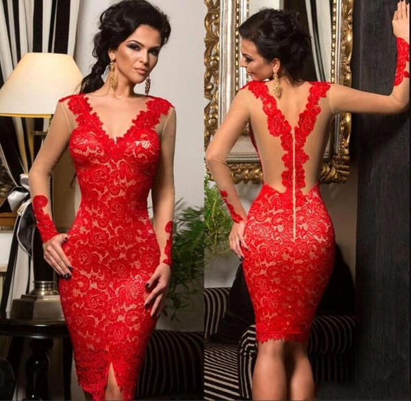 Sexy Short Little Celebrity Cocktail Red Lace Applique Nude Illusion Long Sleeve Homecoming Dress Custom Made BC0545