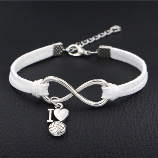 Fashion Supernatural Inspired Vintage Infinity Love I Heart Volleyball Pendant Punk White Leather Suede Bracelets For Men Women Lucky Gifts
