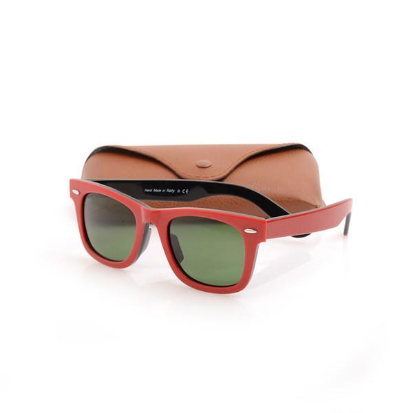 Brand New Designer Sunglasses Excellent Plank red black Sunglasses glass Lens Green Lens Sunglasses beach Sun glasses with Original cases