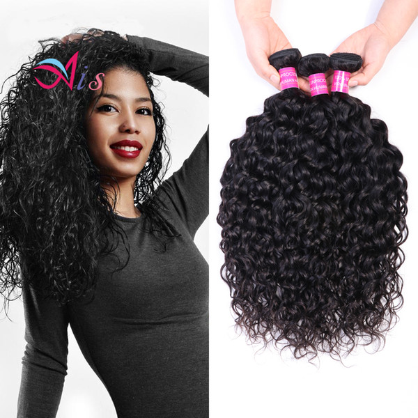 best selling Ais Hair High Quality Brazilian Virgin Human Hair Water Wave 3 Bundles Natural 1B Color Indian Peruvian Malaysian Hair Extensions Weaves