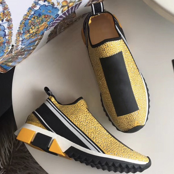 fashion luxury designer shoes Sorrento Sneakers With Rhinestones seed Socks trainer urban style stretch mesh shoes Running Casual Shoes US12
