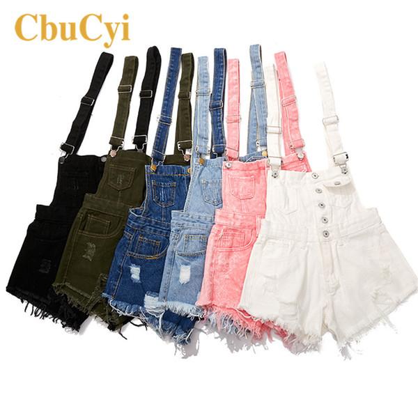 CbuCyi Women Playsuit Denim Rompers Womens Jumpsuits Hole Korean Short Playsuits Cotton Denim Tracksuits Combinaison Short Femme