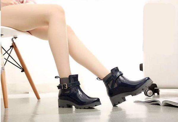 Hot Sale-Elastic Band Solid Women Rain Boot Waterproof Walking Outdoor Hunting Waterproof Shoes Ankle Martins Rainboots Women Rain Boots