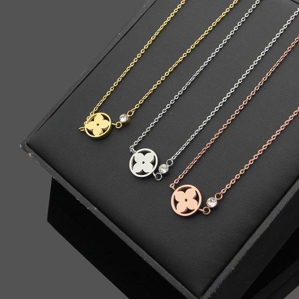 Diseñador de la marca Hoja Collares pendientes para mujer de lujo 18 K oro rosa plata collar mujeres moda collar de acero inoxidable regalo del amante