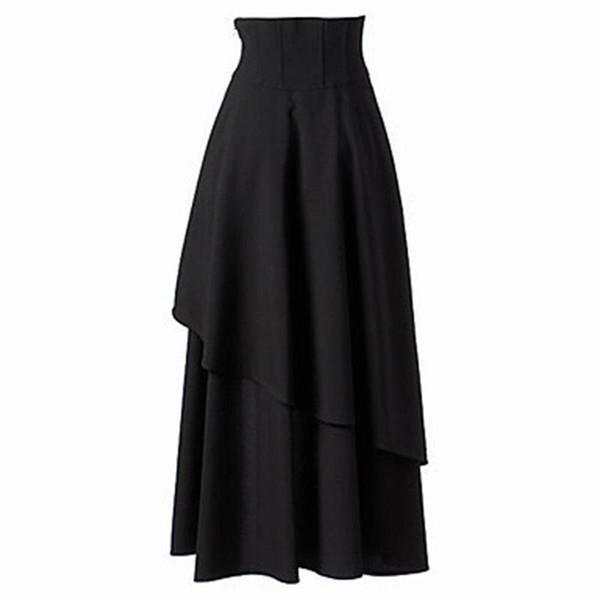 Women Skirt Spring 2019 New Gothic Lace Up Fashion Lolita Style Solid Black Elegant Asymmetric Hem High Waist Ladies Midi Skirts