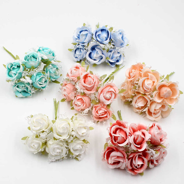 6pcs/lot White Lace high quality Silk Rose Bouquet Artificial Flowers Wedding Decoration DIY Garland Scrapbook Gift Box Craft
