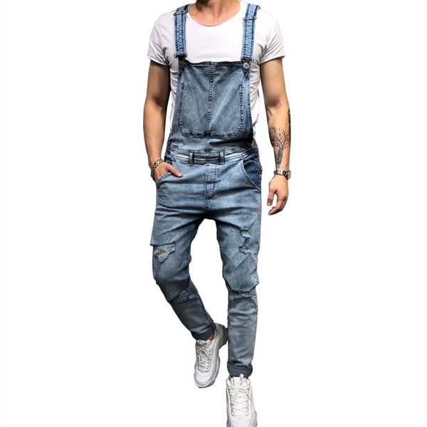 Fashion Men's Ripped Jeans Jumpsuits Hi Street Distressed Denim Bib Overalls For Man Suspender Pants
