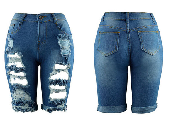 2019 Sexy Verão Nova Moda das Mulheres Jeans Oco Do Joelho Jeans Apertado Cintura Alta Azul Branco Casual Calças Lápis Atacado