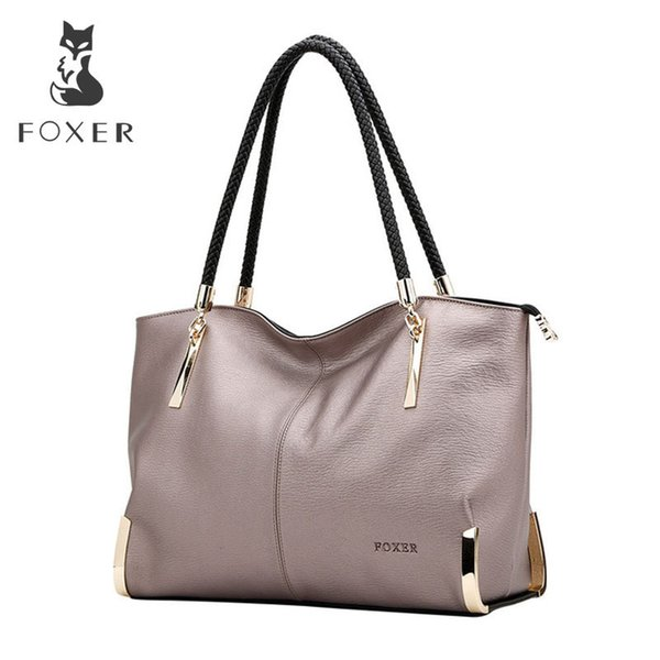 Foxer Brand Women's Cow Leather Handbags Female Shoulder Bag Designer Luxury Lady Tote Large Capacity Zipper Handbag For Women J190619