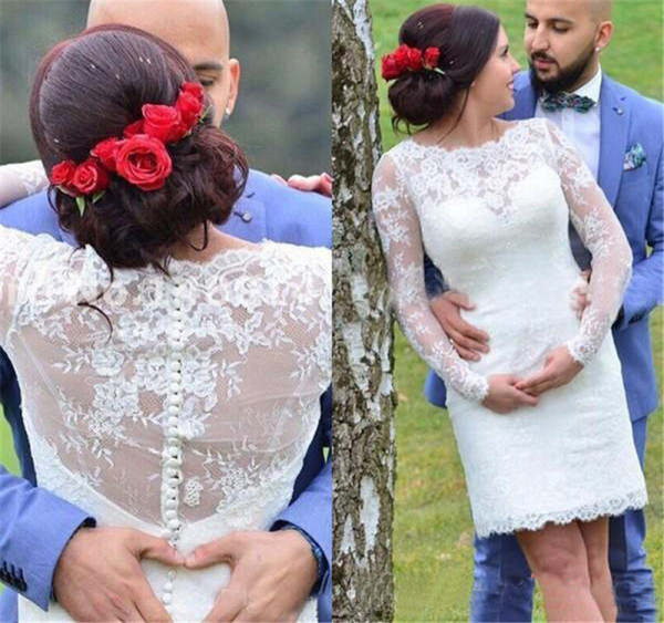 2019 Lace Short Sheath Beach Boho Wedding Dresses Long Sleeves Sheer Neck Country Style Bridal Dresses Gown with Covered Buttons