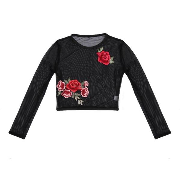 Maglietta a maniche lunghe a maniche lunghe con ricamo a fiori in maglia nera da donna