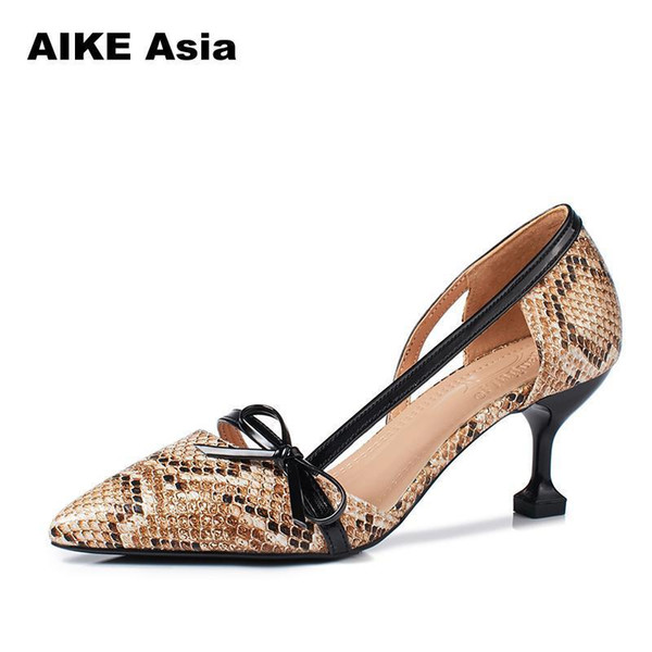 Designer Dress Shoes Brand Women Pumps 2019 Spring Pointed Toe Patent 6.5cm Stiletto Peach Dress Bride Serpentine Weeding Sandals