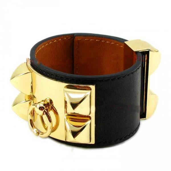 Brand Designer Bracelets Luxury Four Rivets Wide Leather Bracelets Women Men Gold Silver CDC Punk Width 3.8cm Bracelet Fine Jewelry