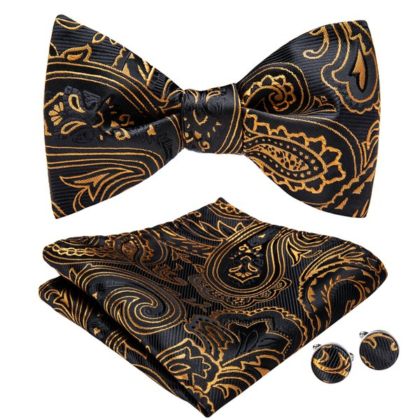 Hi-Tie Yellow Pattern Black Bow Tie Designer Set With Handkerchief Cufflinks For Mens Luxury Fashion Wedding Business Party AL-074