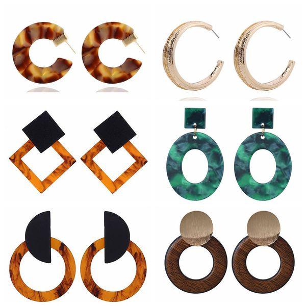 Fashion Minimalist Acrylic Women Drop Earring Sexy Leopard Print Earring Simple Geometric Tortoise Color Acetate Earring Brincos