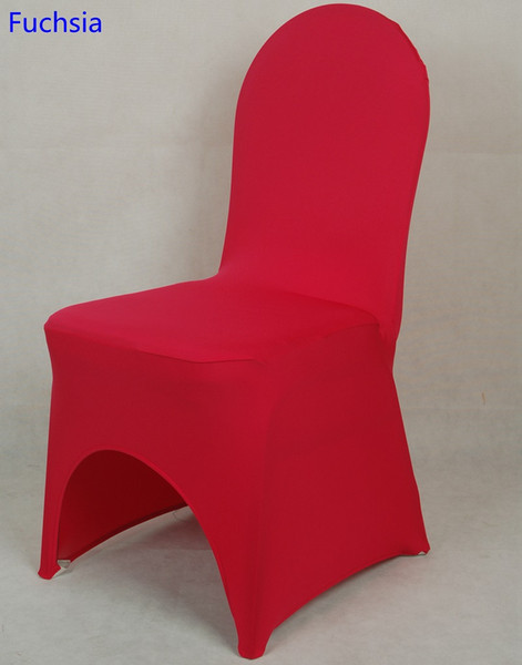 Fuchsia colour lycra universal chair cover for wedding decoration spandex chair cover on sale banquet chair arch front open