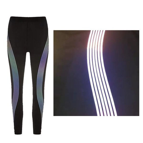 2018 women reflective leggings glow in the dark night light side stripes shiny sports yoga pants dance tights sportswear female #367021