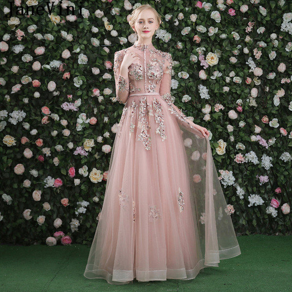 wholesale Beautiful Tulle A Line Bridesmaid Dresses Embroidery Appliques Pearls Button High Neck Wedding Party Formal Prom