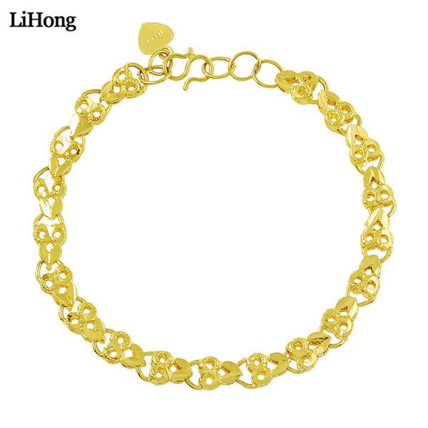 Die Kleidung der heißen Art- und Weisefrauen / die Farbe des Gold-24k der Mädchen füllte unregelmäßige herzförmige Armband-Armband-Geschenk-Schmucksachen Freies Verschiffen