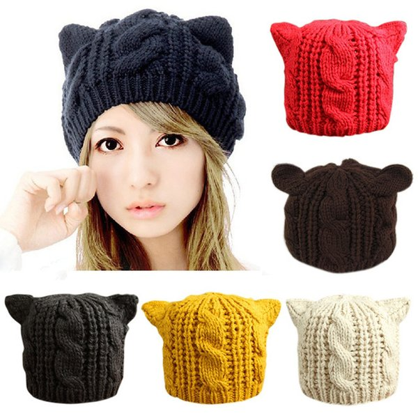 Lovely Cat Ears Hat Beanie Women Warm Solid Color Hip-hop Cap Lady Girls Cute Winter Knitted Skullies Beanies Casual Wool Caps S1218