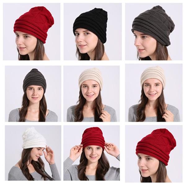 Bonnet tricoté bonnet de laine couleur pure chaude bonnet de laine triangle Triangle diamant hommes et femmes en automne et en hiver dame Ski Hat T2C5091