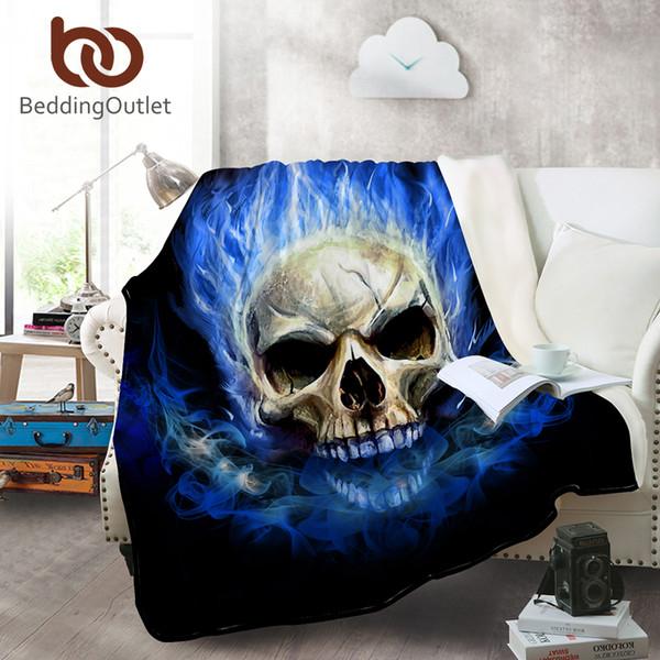 BeddingOutlet Flame Skull Flanella Coperta Gothic Coral Fleece Coperte per Letti Calde Fodere Blu Fire Coverlet Copridivano 150x200