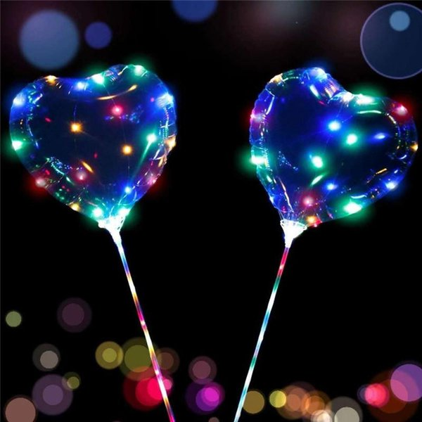 top popular Love Heart Star Shape LED Light Bobo Balloons Luminous Transparent Balloon with Stick for Christmas Wedding 2020