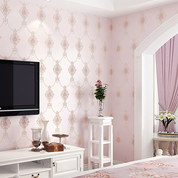 Europe Damascus Design 3d Embossed Wallpapers Living Room Bedroom Self  Adhesive Wallpaper Pink Beige Mural Papel De Parede Qz007 Wallpaper Girls  ...
