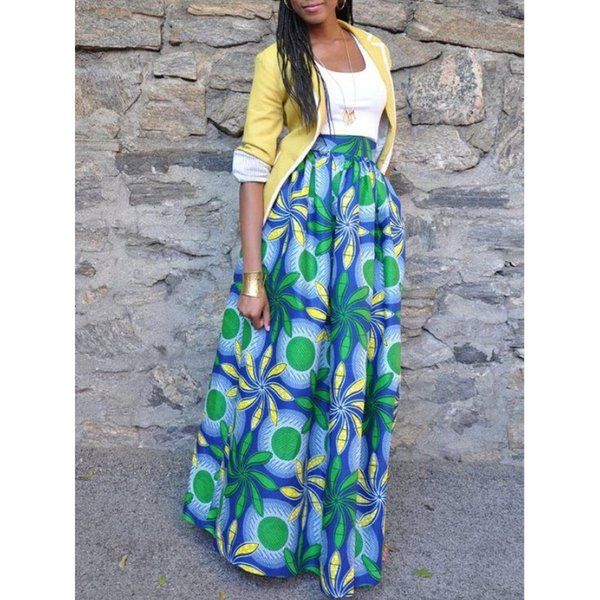 Acheter YSMARKET 9 Styles Ethniques Style Africain Imprimer Femmes Jupe Longue Été Une Ligne Longueur De Plancher Taille Haute Vintage Maxi Jupes