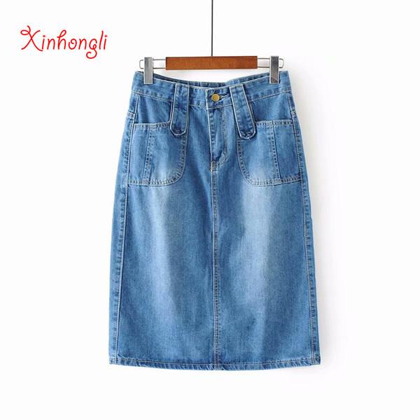 Taille plus femmes jeans jupe zipper 2019 été bleu poches jupe en jean jupe crayon femme