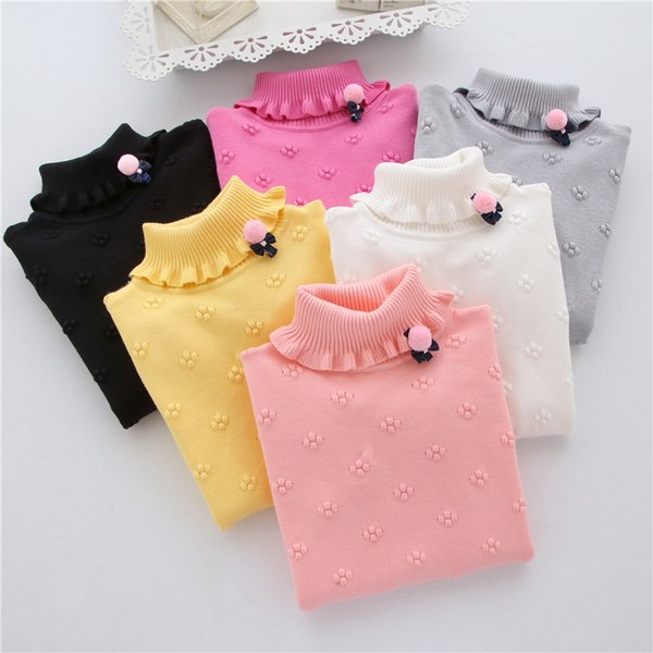 2019 New Brand Fashion Kids Clothes Girls Flower Children Sweater Girls Pullovers Girl Child Basic Turtleneck Sweaters 2-6T Baby