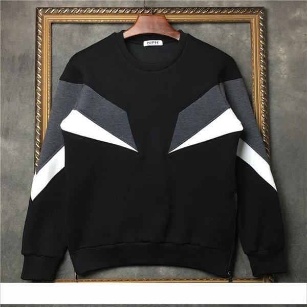 2019 Новый модный бренд Топ мужчин с длинным рукавом Повседневная спортивная толстовка с молнией лоскутное бока молния пуловер пальто Дизайнерский свитер