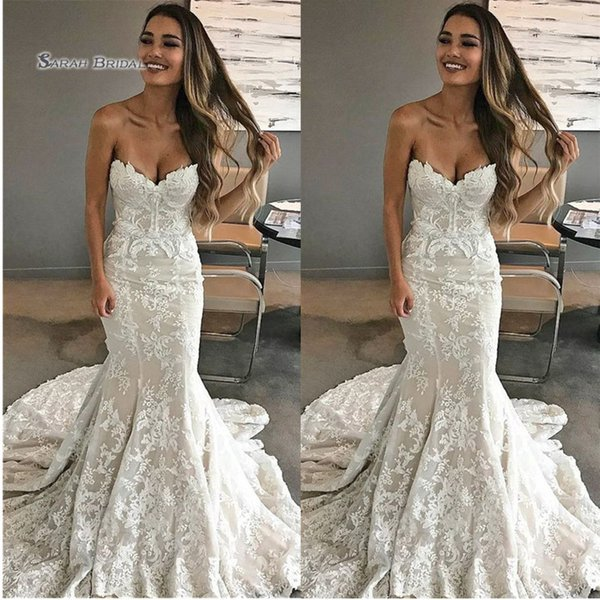best selling 2019 Sweetheart Mermaid Lace Bride Dress Sweep Train Appliques Sleeveless Wedding Bridal Gown High-end Wedding Boutique