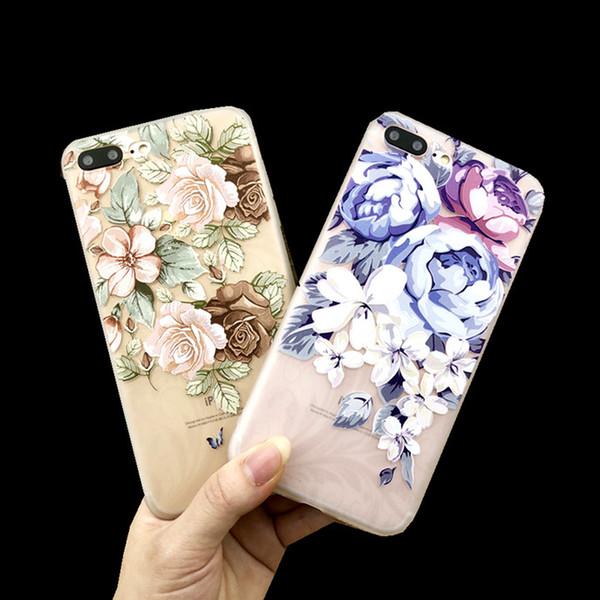 Luxury Designer Phone Cases for IPhone X XS MAX XR 8 7 6 6S Plus I Phone 8plus 8 Plus 3D Rose Flower Matte Case Back Cover Coque Wholesale
