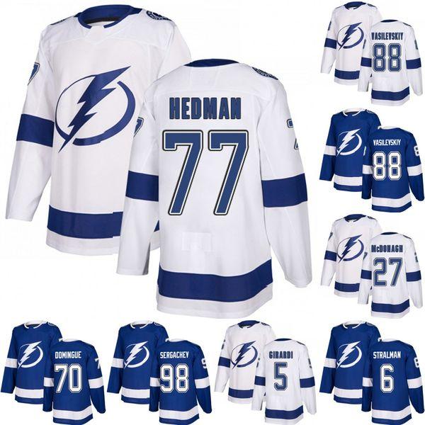 Tampa Bay Lightning Dan Girardi Victor Hedman Ryan McDonagh Anton Stralman Louis Domingue Andrei Vasilevskiy Mikhail Sergachev Hockey Jersey