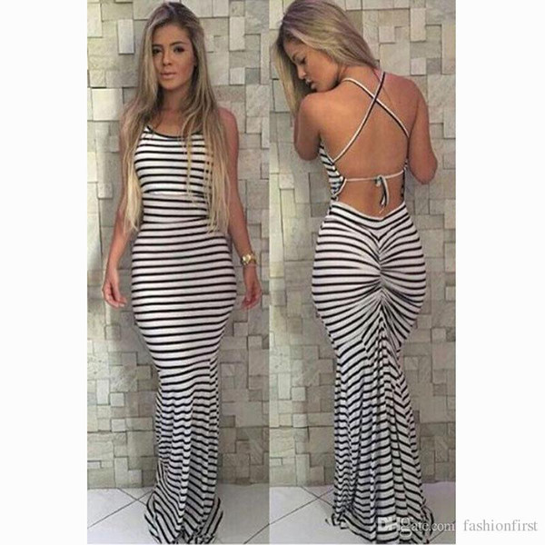Brand New Sundress Холтер шеи Длинный черный белая полоса Женщины Maxi складку Bodycon собрали повязку нашивки платье бесплатную доставку