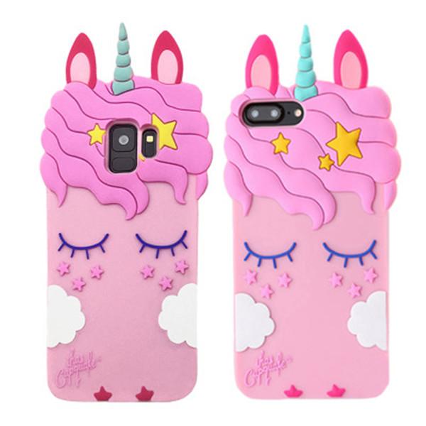 3D Cartoon Rosa Einhorn Weiche Silikonhülle Für Samsung Galaxy S8 S9 plus note9 note8 J4 J6 plus A7 2018 Cute Horse Case Rubber Bunny Cover