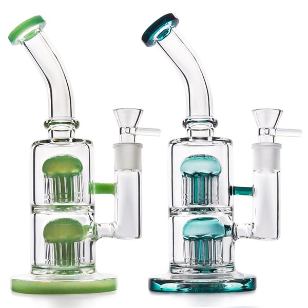 Glass Bong Water Pipe 10inches Dab Oil Rig Recycler Bubber with 18.8mm glass bowl Oil Burner glass pipe