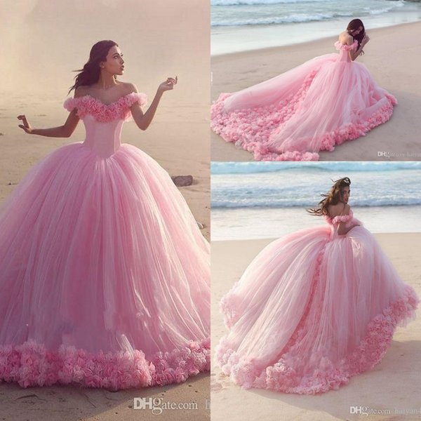 2020 New Arabic Quinceanera Ball Gown Dresses Puffy Off Shoulder Tulle Pink Flowers Cathedral Train Sweet 16 Cheap Party Prom Evening Gowns