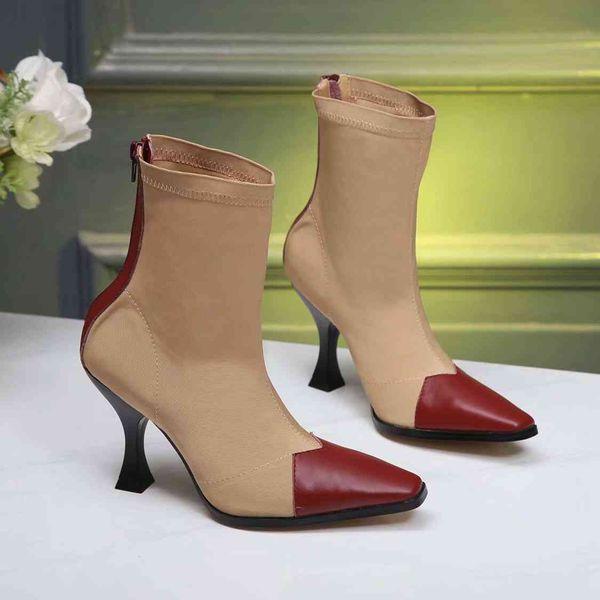 Kadın tasarımcı lüks deri yatay grogren dikiş ve ayak bileği çizmeler yüksek kaliteli alışveriş parti kadın çizmeler 35-39
