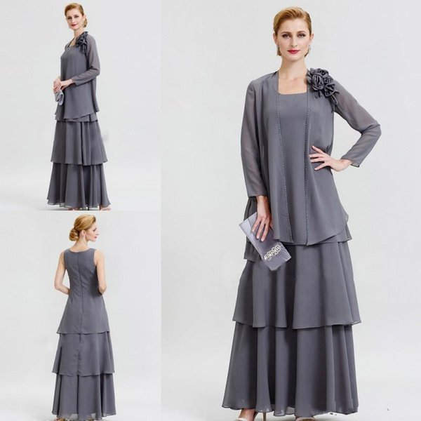 Grey Mother Of The Bride Dresses With Jacket Long Sleeves Chiffon Plus Size  Mother\'S Gown For Wedding Floor Length Formal Evening Dress Mother Groom ...