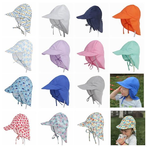 Summer newborn Sun Cap Unisex Baby Kids Bucket Hat UV Protection Outdoor Beach Swim Sunscreen Neck Ear Cover Flap Cap AAA2240