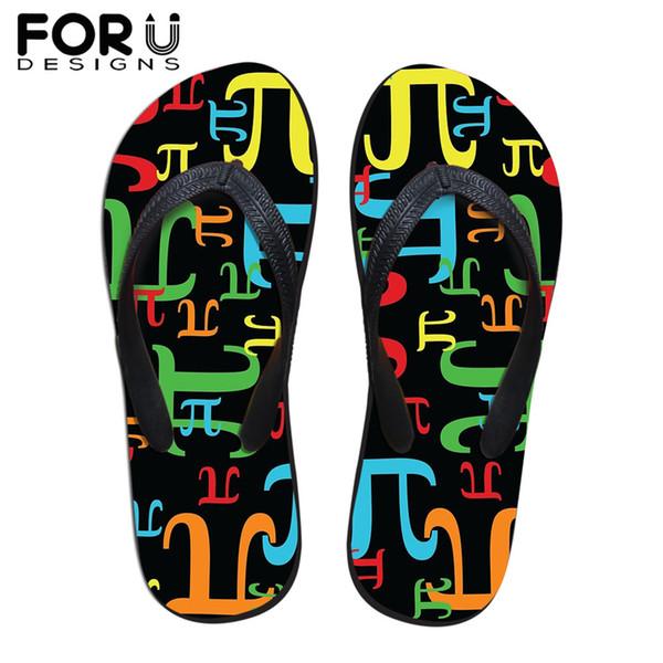 FORUDESIGNS 2019 Summer Women's Beach Light Slippers Pieces of Pi Prints Casual Ladies Indoor Home Flip Flops Zapatos De Mujer