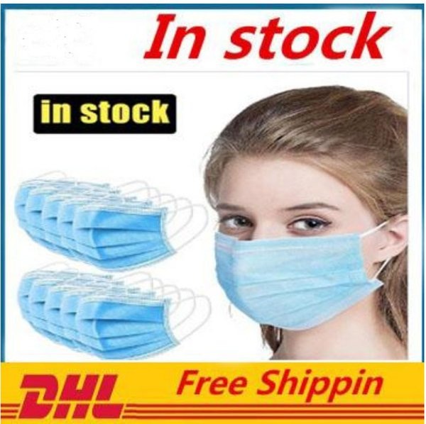 New Disposable Face Mask 3 Layers Dustproof Facial Protective Cover Masks Anti-Dust Disposable Salon Earloop Mouth Mask Party Masks