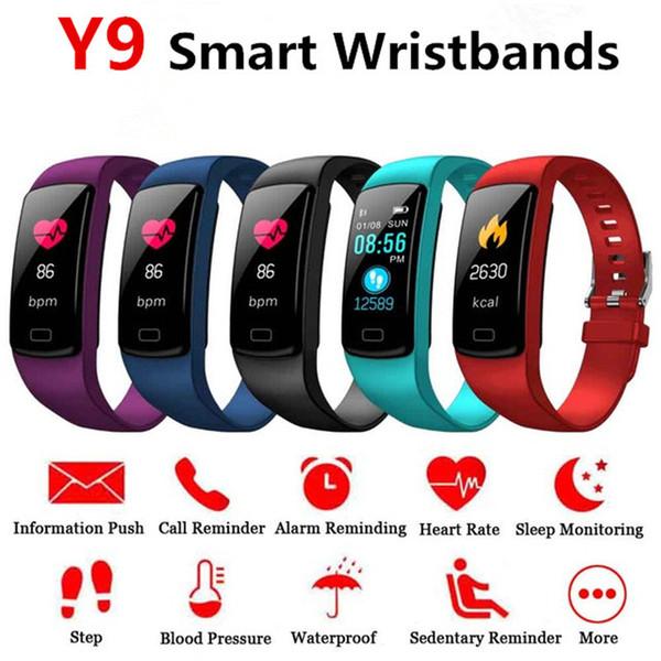Intelligente braccialetto Y9 Android IOS frequenza cardiaca Banda Monitor sonno pressione sanguigna Fitness Tracker impermeabile schermo a colori Sport Band